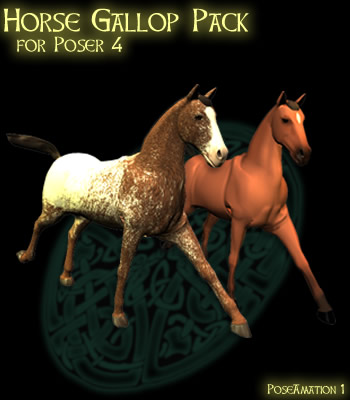 PoseAmation 1 - P4 Horse Gallop Pack - PoseAmation: Royalty free 3D